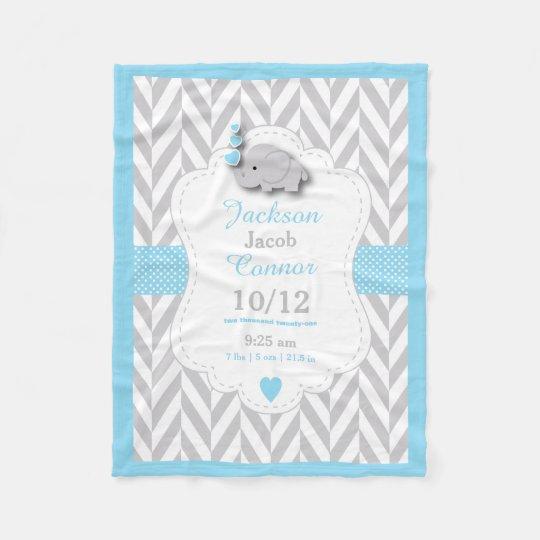 Baby Blue Elephant Birth Keepsake Design Fleece Blanket