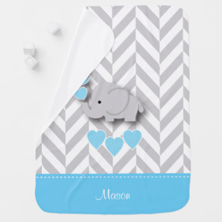 Baby Blue Elephant Design Baby Blanket