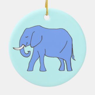 Baby Blue Elephant Walking Round Ceramic Decoration