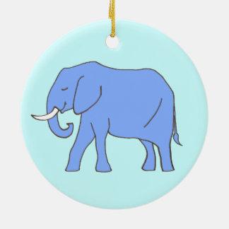 Baby Blue Elephant Walking Round Ceramic Decoration