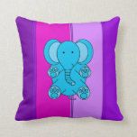Baby blue elephant with pink and purple stripes