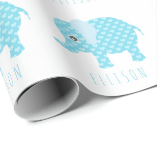 Baby Elephant Blue Boy Wrapping Paper Zazzle Uk