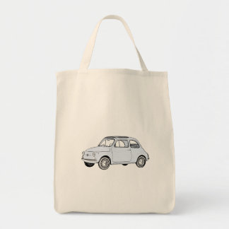 Baby Blue Fiat 500 Topolino Drawing Tote Bag