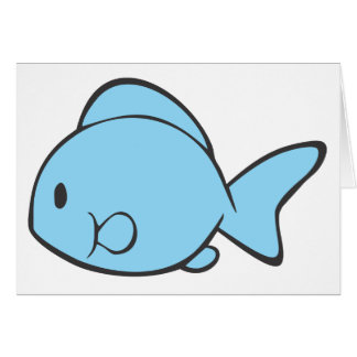 Baby Blue Fish Swimming Greeting Card