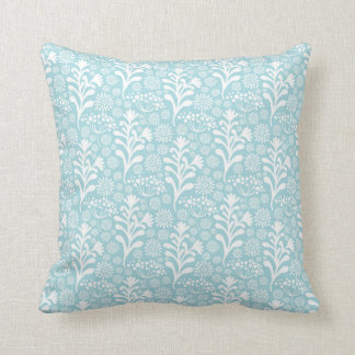 Baby Blue Floral Pattern Cushion Pillows