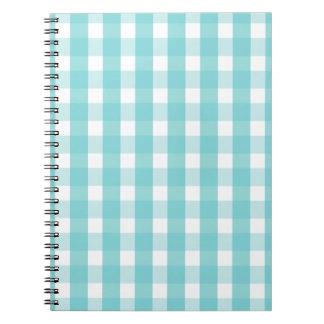 Baby blue gingham pattern spiral notebook
