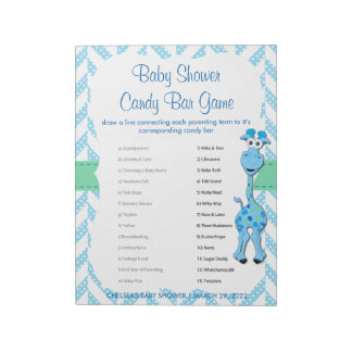 Baby Blue Giraffe Baby Boy Shower - Game 2 Notepad