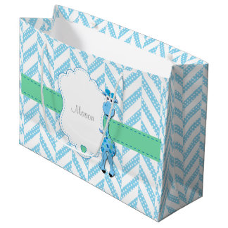 Baby Blue Giraffe - Baby Boy Shower Large Gift Bag
