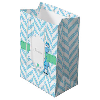 Baby Blue Giraffe - Baby Boy Shower Medium Gift Bag