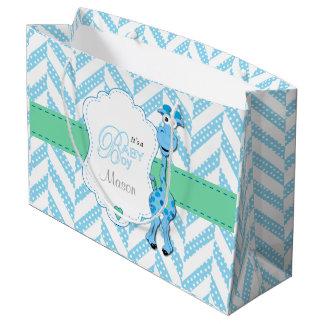 Baby Blue Giraffe Baby Shower 2 Large Gift Bag