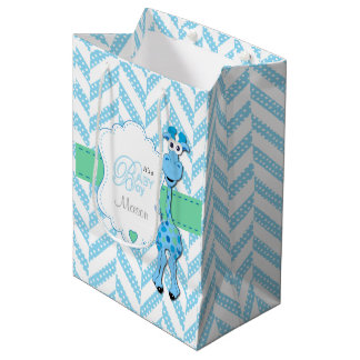 Baby Blue Giraffe Baby Shower Medium Gift Bag