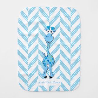 Baby Blue Giraffe Design Pattern Burp Cloth