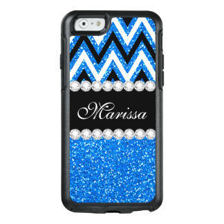 Baby Blue Glitter Black White Chevron Stripe OtterBox iPhone 6/6s Case