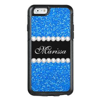 Baby Blue Glitter Cool Black Ribbon Diamond Bling OtterBox iPhone 6/6s Case