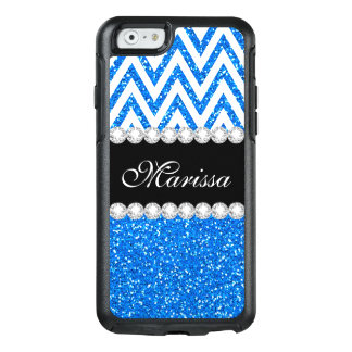 Baby Blue Glitter Cool White Chevron Stripe OtterBox iPhone 6/6s Case