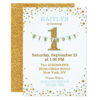 Baby Blue Gold Glitter Sparkle First Birthday Card