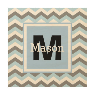 Baby Blue Grey Chevron Personalized Name Wood Wall Art