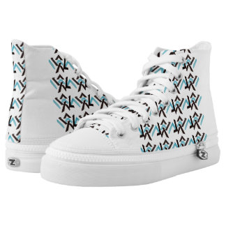 BABY BLUE HEX HIGH TOP PRINTED SHOES