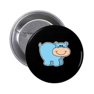 baby blue hippo 6 cm round badge