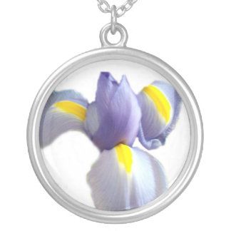 Baby Blue Iris Silver Plated Necklace
