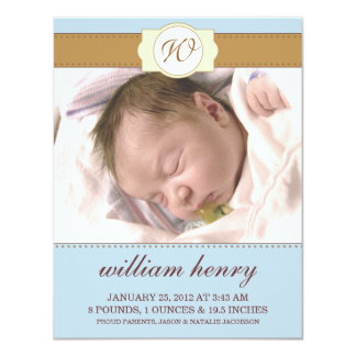 Baby Blue Monogrammed New Baby Photo Announcements