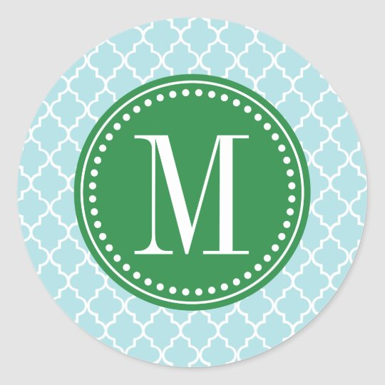 Baby Blue Moroccan Tiles Lattice Personalised Classic Round