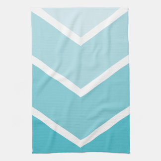 Baby Blue Ombré Chevron Stripes Tea Towel