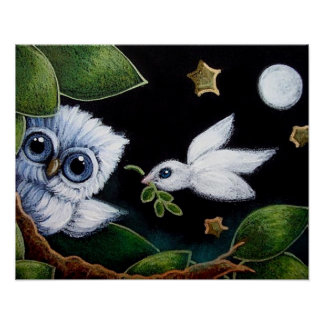 "BABY BLUE OWL & DOVE 20"" x 16""Poster Paper (Matte) Poster"