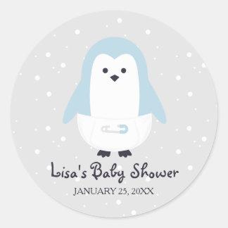 Baby Blue Penguin Baby Shower Sticker
