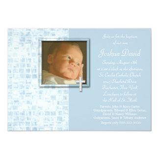 Baby Blue Photo Christening Invitations