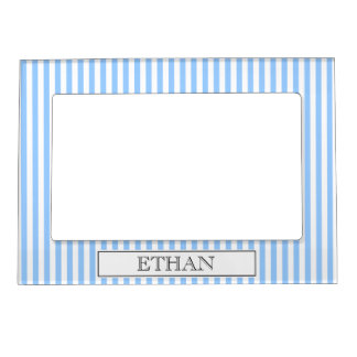 Baby blue pinstripe magnetic photo frame