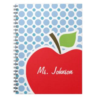 Baby Blue Polka Dots; Apple Spiral Notebooks