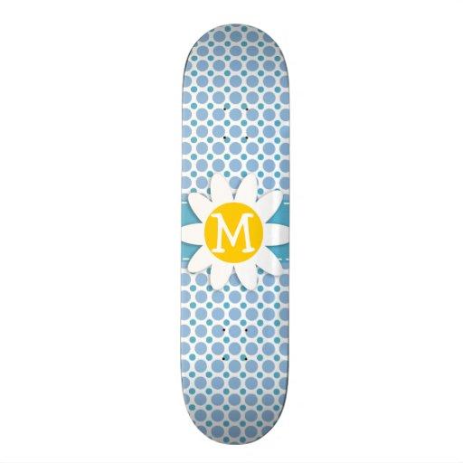 Baby Blue Polka Dots; Daisy Skate Board Decks