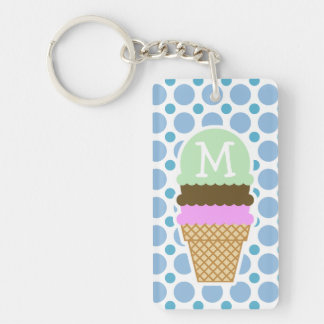 Baby Blue Polka Dots; Ice Cream Cone Double-Sided Rectangular Acrylic Key Ring