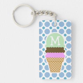 Baby Blue Polka Dots; Ice Cream Cone Double-Sided Rectangular Acrylic Key Ring