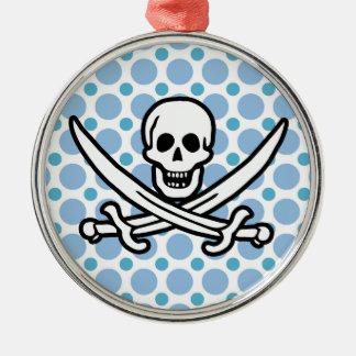 Baby Blue Polka Dots Jolly Roger; Pirate Christmas Tree Ornaments
