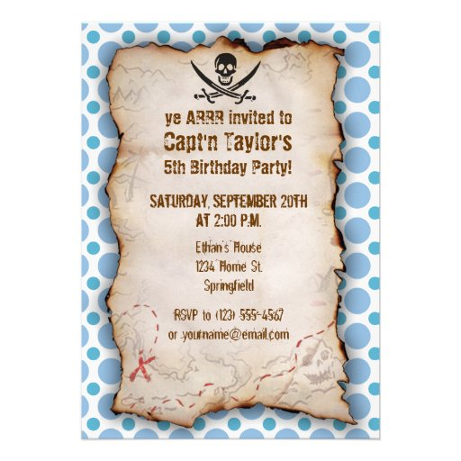 Baby Blue Polka Dots Jolly Roger; Pirate Personalized Announcements