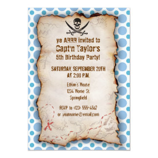 Baby Blue Polka Dots Jolly Roger; Pirate 13 Cm X 18 Cm Invitation Card