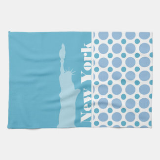 Baby Blue Polka Dots; New York, Statue of Liberty Hand Towels