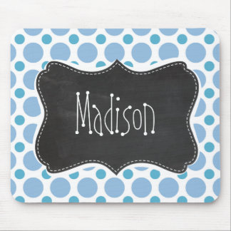 Baby Blue Polka Dots; Vintage Chalkboard Mouse Pad