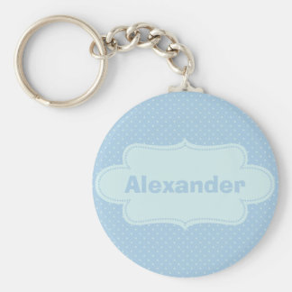 Baby Blue Polka Dots with Label Keychains
