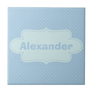Baby Blue Polka Dots with Label Tiles