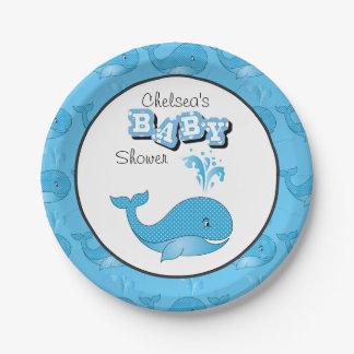 Baby Blue Polka Dotted Whale | Personalize 7 Inch Paper Plate