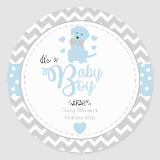 Baby Blue Puppy Baby Shower Stickers