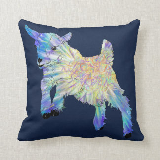 Baby Blue Purple Jumping Goat Animal Art Design Cushion