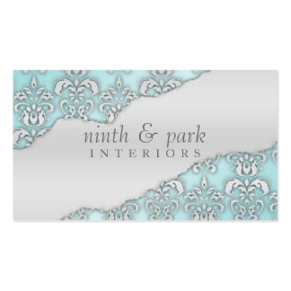 Baby Blue Ripped Damask Interior Design Business Card Template