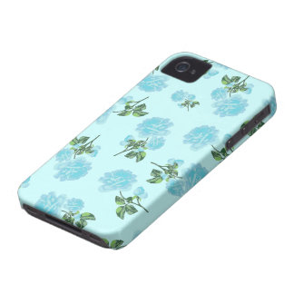 Baby Blue Roses pretty floral pattern on blue iPhone 4 Cover