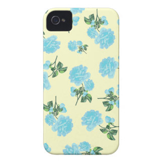 Baby Blue Roses pretty floral pattern on cream iPhone 4 Case-Mate Case