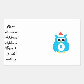 Baby blue santa owl rectangle sticker