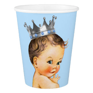 Baby Blue Silver Prince Baby Shower Paper Cup